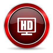 hd display red circle glossy web icon, round button with metallic border - stock illustration