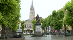 Statue of Simon Stevin (Flemish mathematician and physicist) Stock Footage