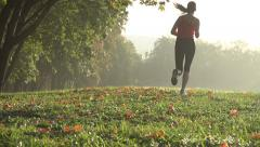Girl runs through Park in the morning,slow motion,dolly shot - stock footage
