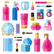 Makeup beauty accessories flat icons set - stock illustration