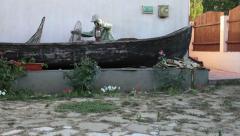 Artisan boat - Pan shot - stock footage