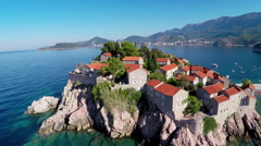 Flying over the Sveti Stefan Stock Footage
