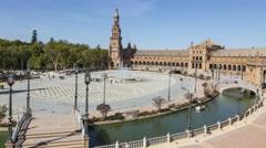 Timelapse in Plaza de Espana, in Seville Stock Footage