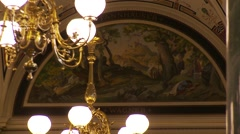 Bavarian State Opera House, foyer painting Wagner Tannhauser Stock Footage