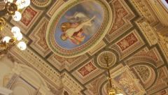 Bavarian State Opera House, foyer tilt down from ceiling fresco Stock Footage
