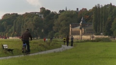 European bicycle cycle path on River Elbe flood plain Dresden Stock Footage