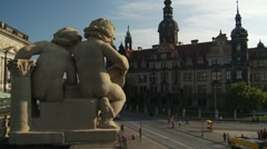 Dresden Castle Royal Palace baroque cherubs overlook street traffic and trams Stock Footage