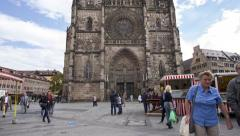 Time lapse of St. Lorenz Church in Nuremberg, Germany. Tilt shot. Stock Footage