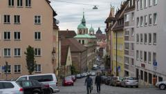 Main street in the center of Nuremberg, Germany Stock Footage