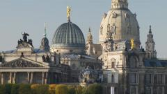 Dresen Royal Palace, castle zoom out to River Elbe - stock footage