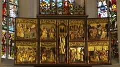 German winged altarpiece polyptych moveable panel sculpture with doors Stock Footage