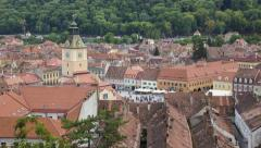 Historical center of Brasov (Kronstadt) - Romania Stock Footage