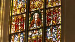 JS Bach stained glass window, zoom in to portrait Stock Footage