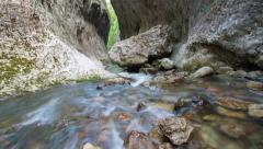 River flowing over the rocks through the canyon of Ramet Gorges, Romania. Stock Footage