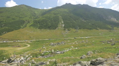 Walking in the Transfagarasan's valley Stock Footage
