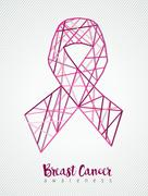 Breast cancer awareness pink ribbon line geometry Stock Illustration