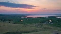 Beautiful sunset over Babadag Lake in Dobrogea Stock Footage
