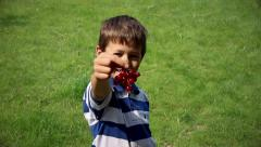 Boy eating currants and looking into the camera, boy eating red berries close up Stock Footage