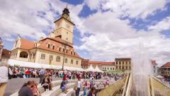 The Council Square crowded with people relaxing in Brasov, Romania Stock Footage