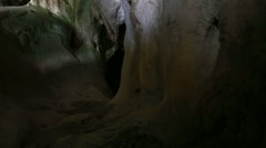 Dark Mysterious cave sliding scene Stock Footage