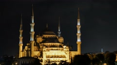 Blue mosque istanbul  illuminated at night Stock Footage