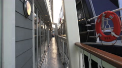 Handheld Point Of View Walking Along Diner Cruise Boat At Harbor Stock Footage