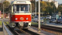 Old East German Tram in Dresden Stock Footage