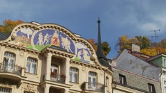 Painted house facades, Karlovy Vary, Karlsbad spa town, Czech Republic Stock Footage