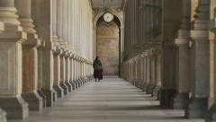 Stone colonnade architecture, Karlovy Vary, Karlsbad - Czech spa town Stock Footage