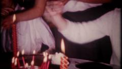 2585 - birthday girl blows out candles, ice cream, cake -vintage film home movie Stock Footage