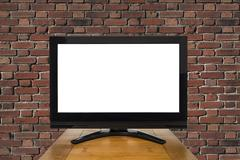 Modern Television with Red Brick Wall and Cut Out Screen Stock Photos