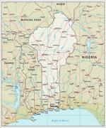 Benin physiography map Stock Illustration