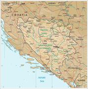 Bosnia Herzegovina physiography map Stock Illustration