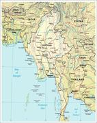 Burma Myanmar physiography map Stock Illustration