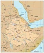 Ethiopia physiography map - stock illustration