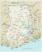 Stock Illustration of Ghana physiography map