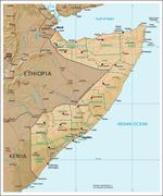 Somalia physiography map - stock illustration