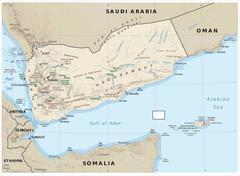 Yemen physiography map - stock illustration
