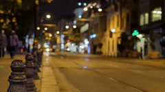 Blurry city lights at night suktan ahmed street istanbul Stock Footage