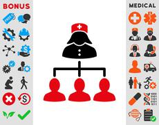 Nurse Patients Connections Icon - stock illustration