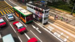 Traffic in Hong Kong with double-decker tramways. time-lapse - stock footage