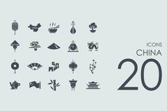 Set of China icons Piirros