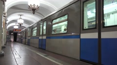 A train departing (with audio) Komsomolskaya station (in 4k), Moscow, Russia. Stock Footage