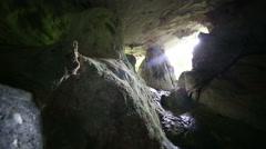 Dark Mysterious cave sliding scene - stock footage