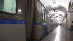 A train departing Komsomolskaya station, Moscow Metro (in 4k), Moscow, Russia. - stock footage