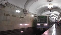 A train pulling in (with audio) to Komsomolskaya station, Moscow Metro, Russia. Stock Footage