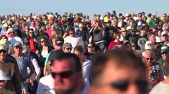 Huge American crowds walk en masse. Stock Footage