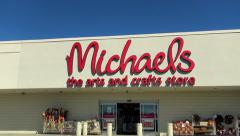 Michaels Arts and Crafts storefront, drive up Stock Footage