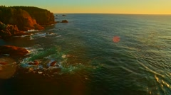 Pacific ocean coast bay at sunset Stock Footage