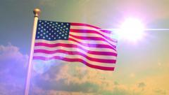 USA US American Flag Medium Shot Waving Against Blue Sky CG Flare 4K Stock Footage